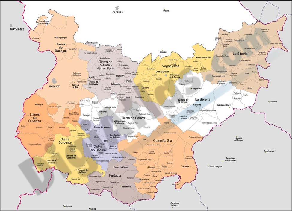 15 mapas provinciales con comarcas y municipios