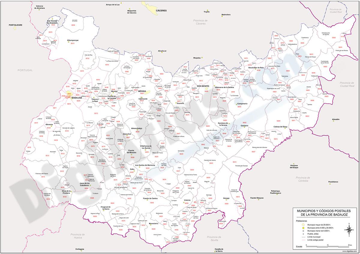 Badajoz - mapa provincial con municipios y Códigos Postales