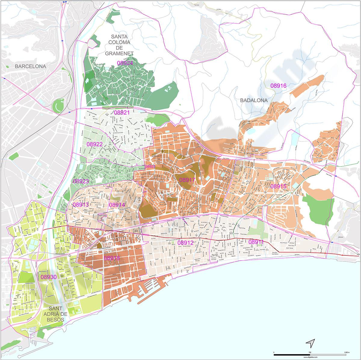 Badalona, Santa Coloma de Gramanet and Sant Adrià del Besòs with postal codes