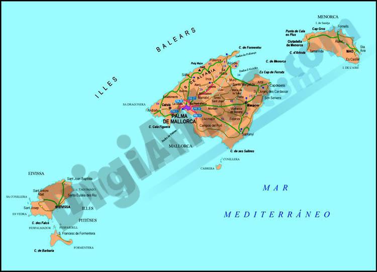 Mapa de baleares illes balears - Islas de baleares ...