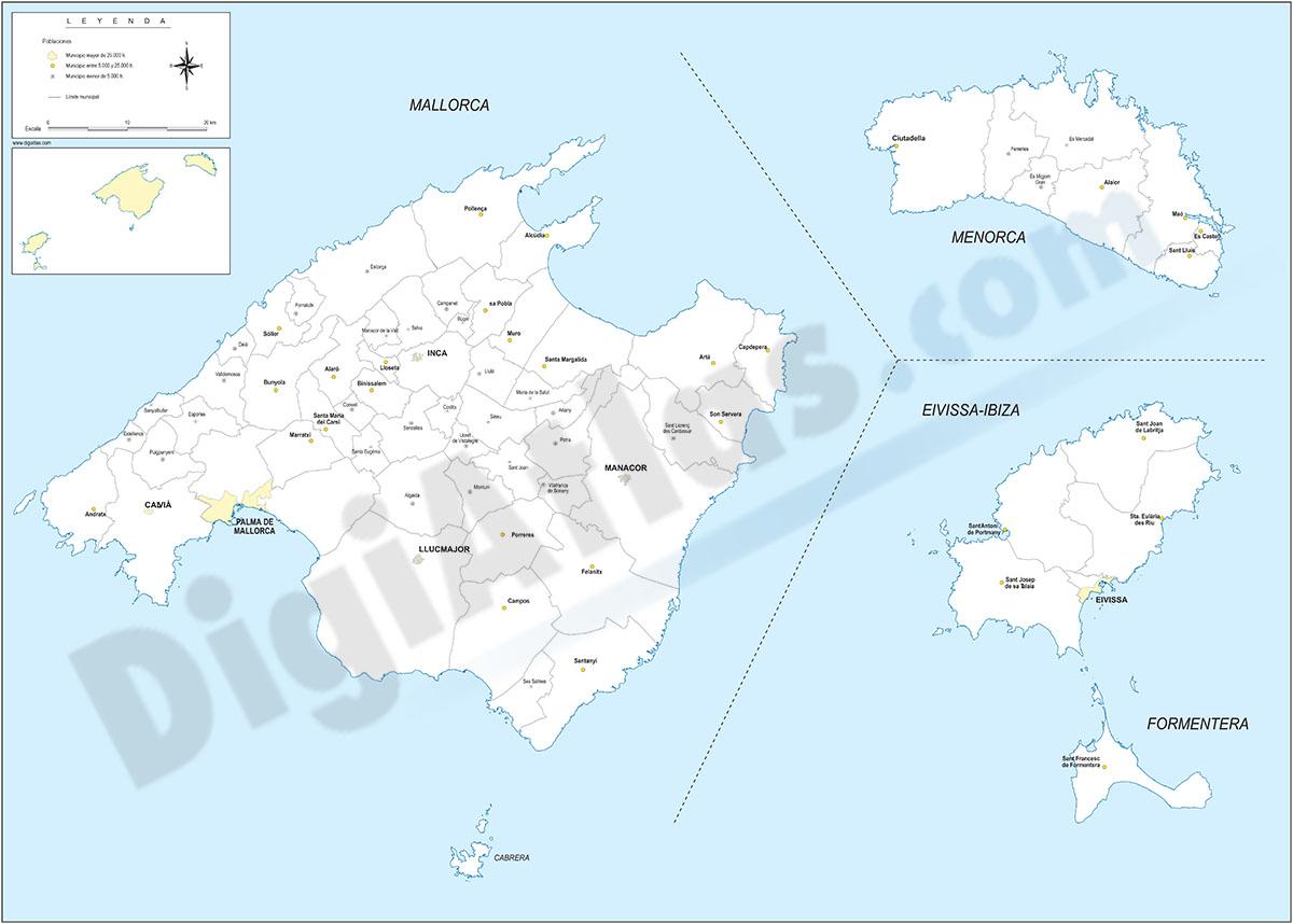 Islas Baleares con términos municipales