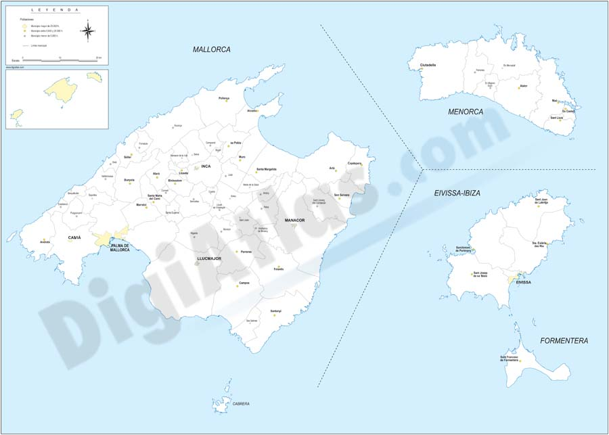 Balearic Islands with municipalities