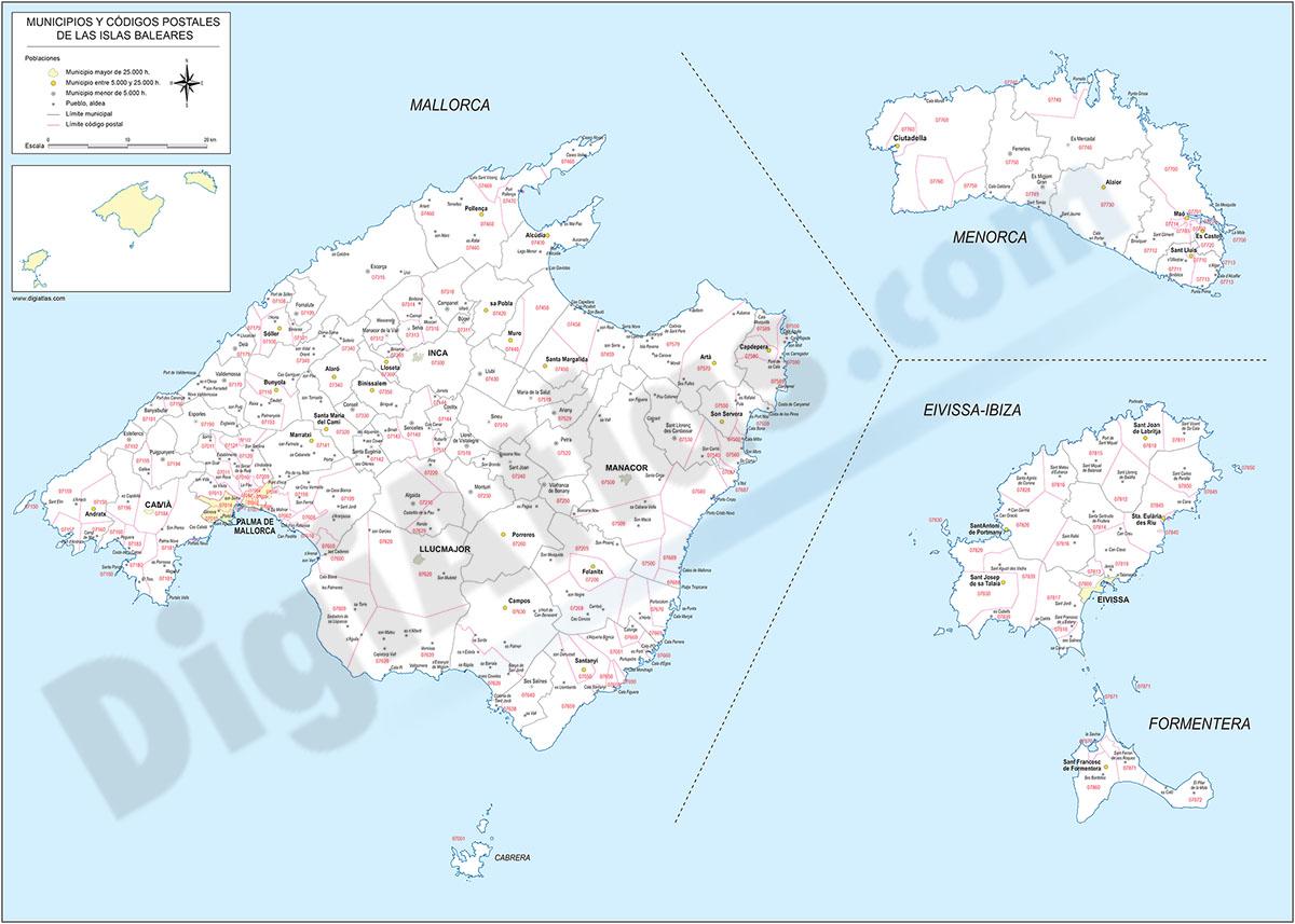 Islas Baleares - mapa autonómico con municipios y Códigos Postales