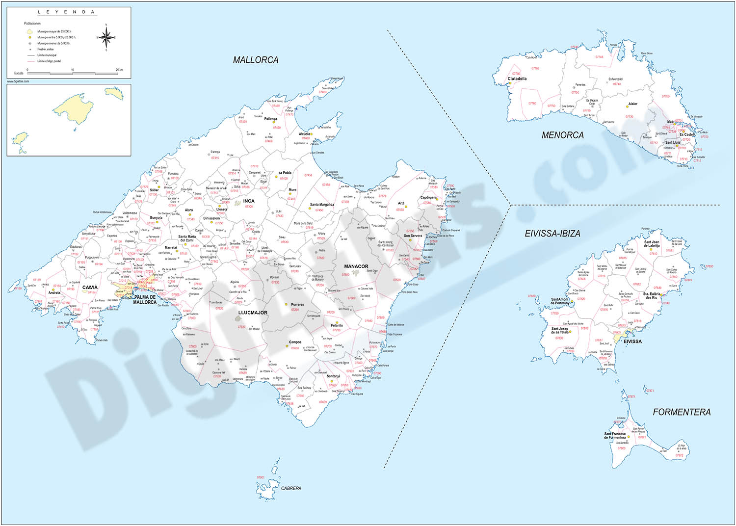Map of Balearic Islands with municipalities borders and postal codes