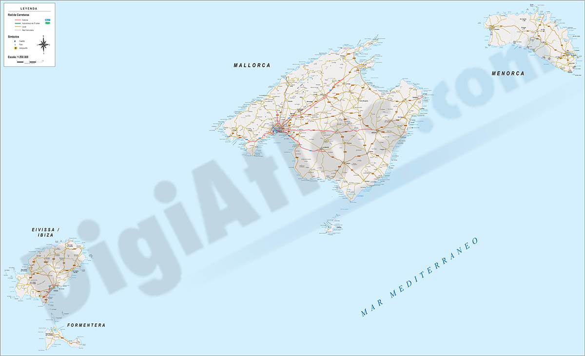 Mallorca - Map of Balearic Islands