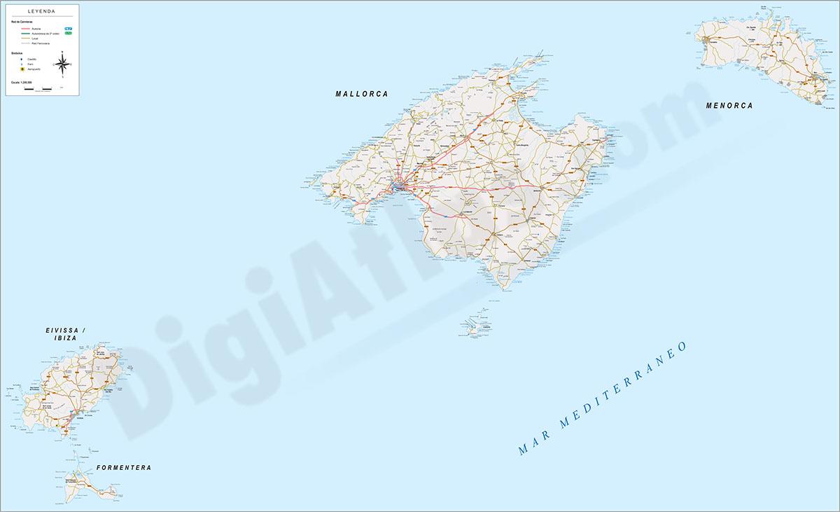 Mallorca - Mapa de las Islas (Illes Balears)