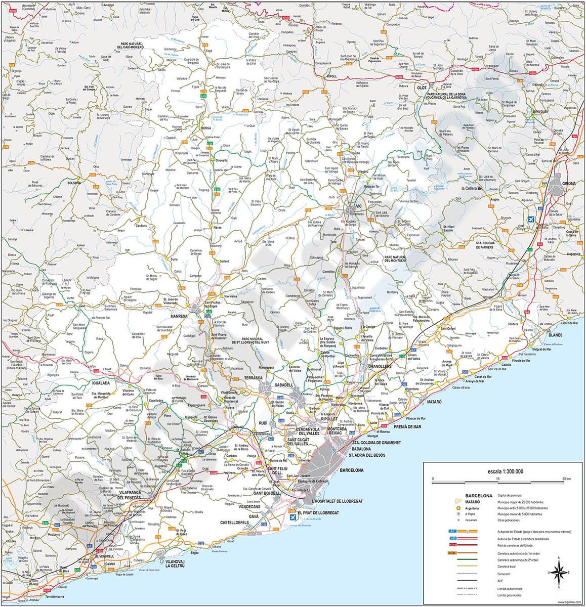 Barcelona - Mapa de la provincia