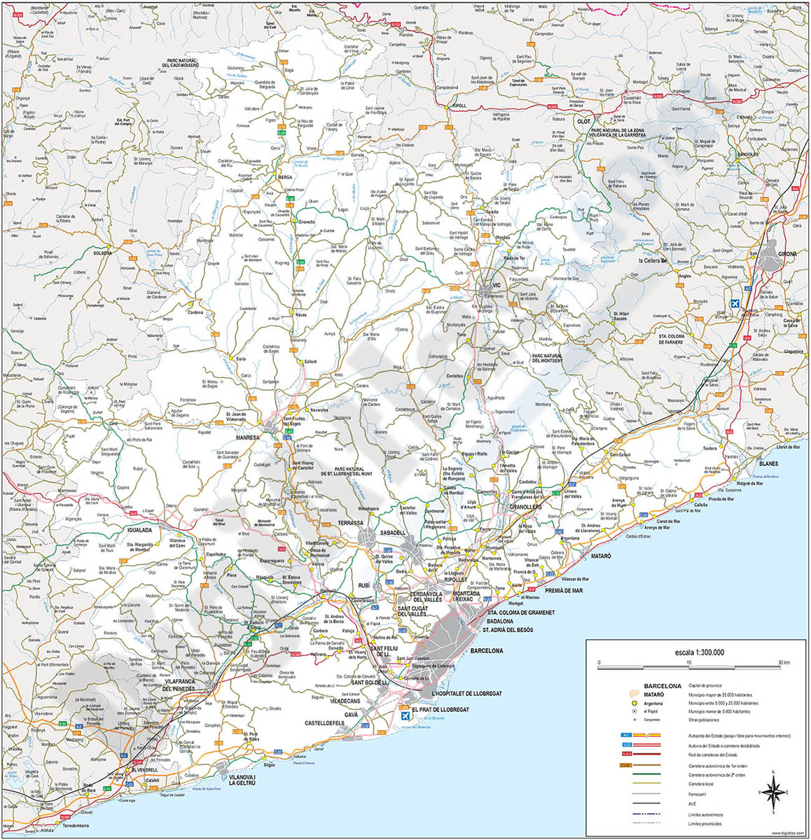 Barcelona - Map of province
