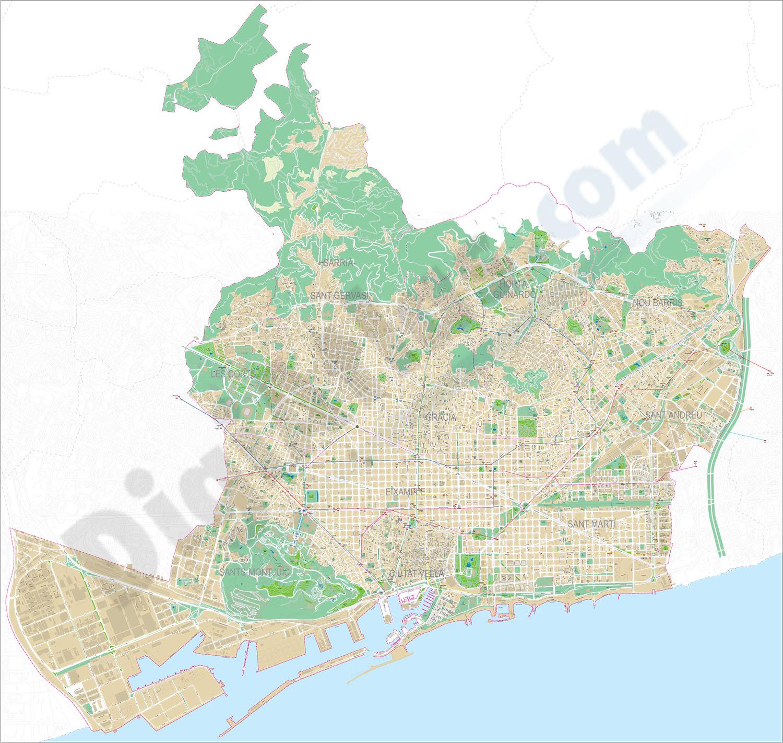 Barcelona término municipal - plano callejero
