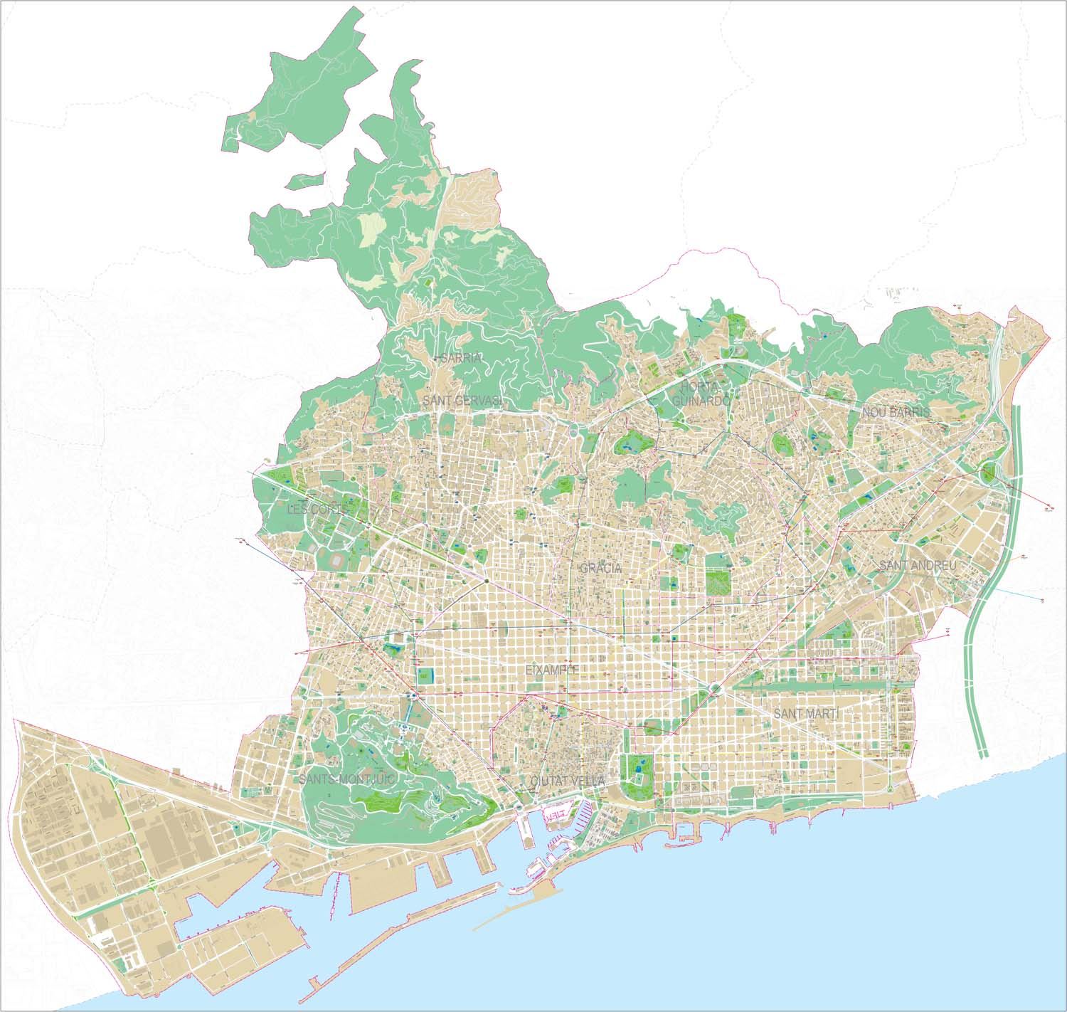 Barcelona entire city map