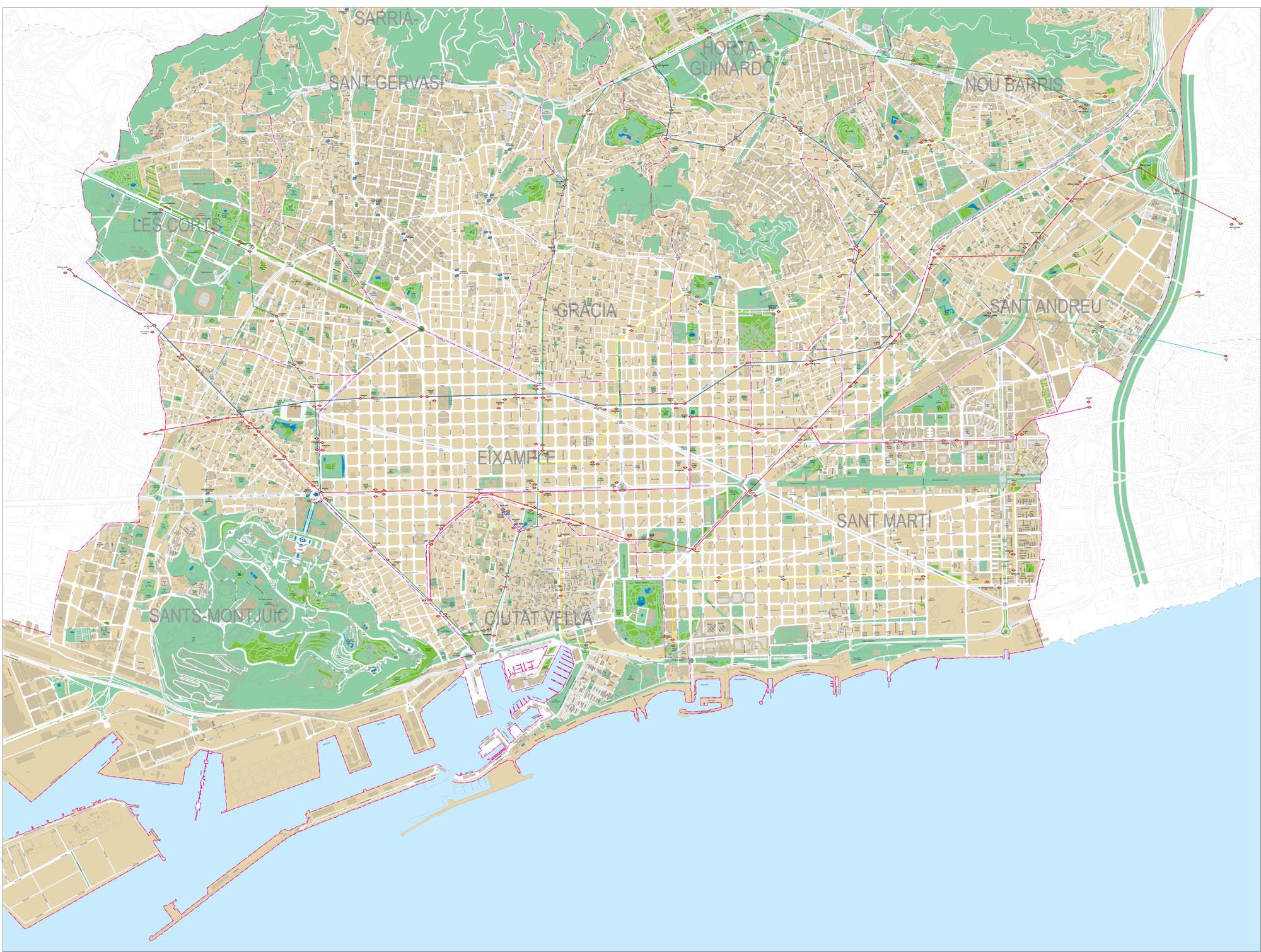 Barcelona - Plano detallado de la ciudad