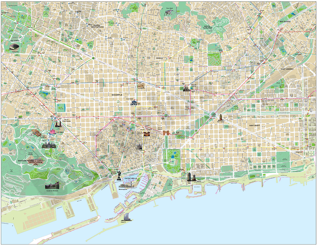 Barcelona - touristic city map