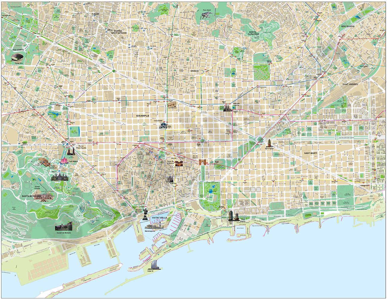 Barcelona - touristic city map