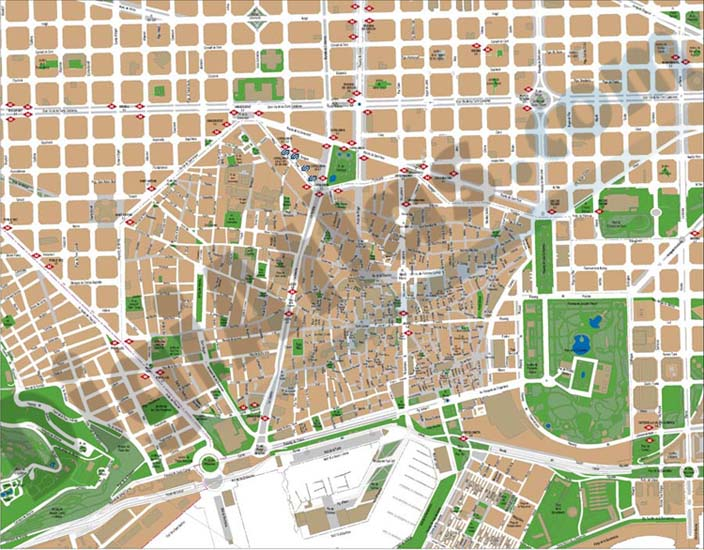 Barcelona City Center Street Map