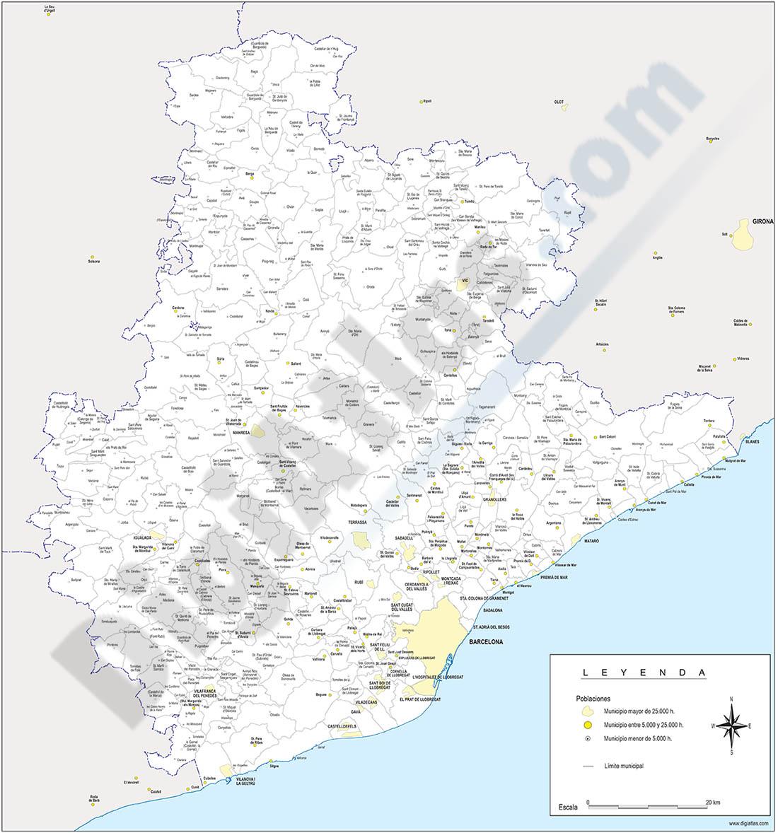 Mapas provinciales con términos municipales y sus capitales