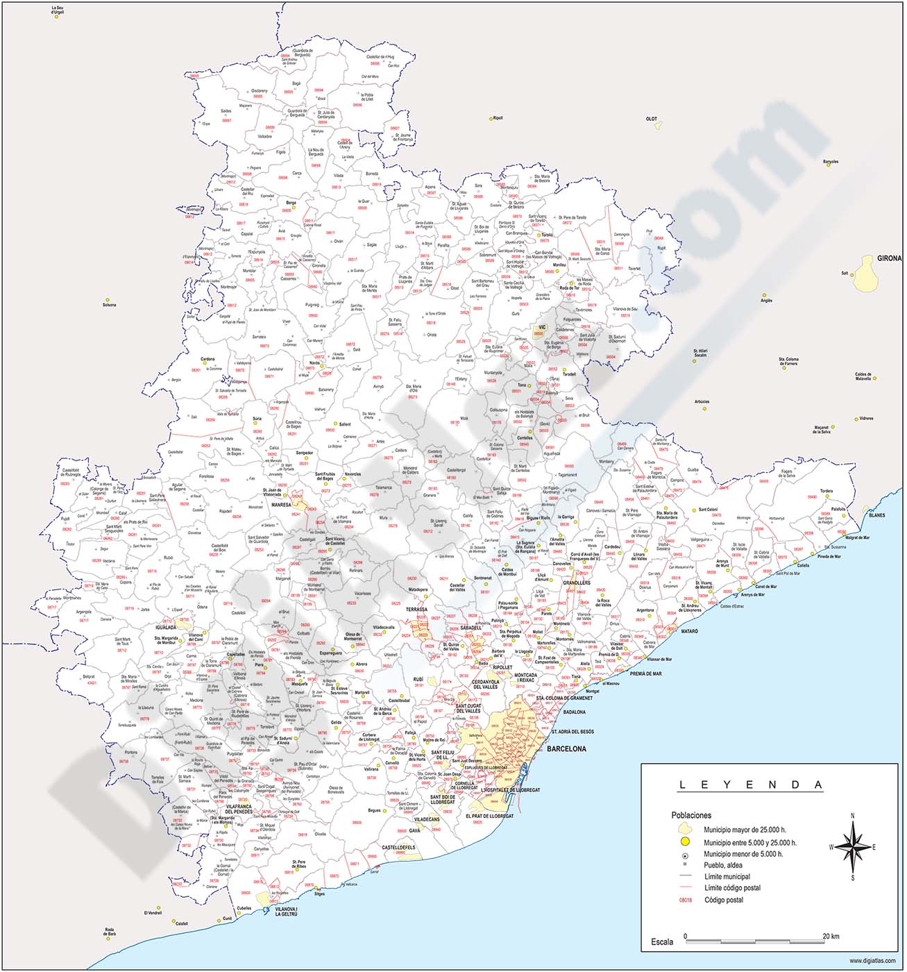 Map of Barcelona province with municipalities and postal codes