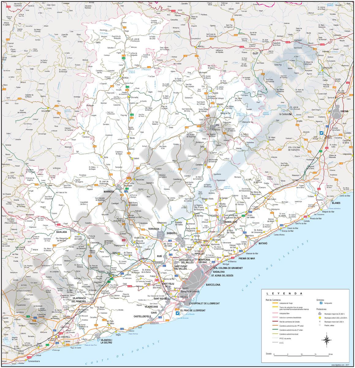 Plano Provincia Barcelona la Provincia de Barcelona