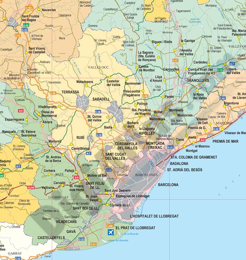 Mapa De Barcelona Provincia.Mapa De Espana Barcelona
