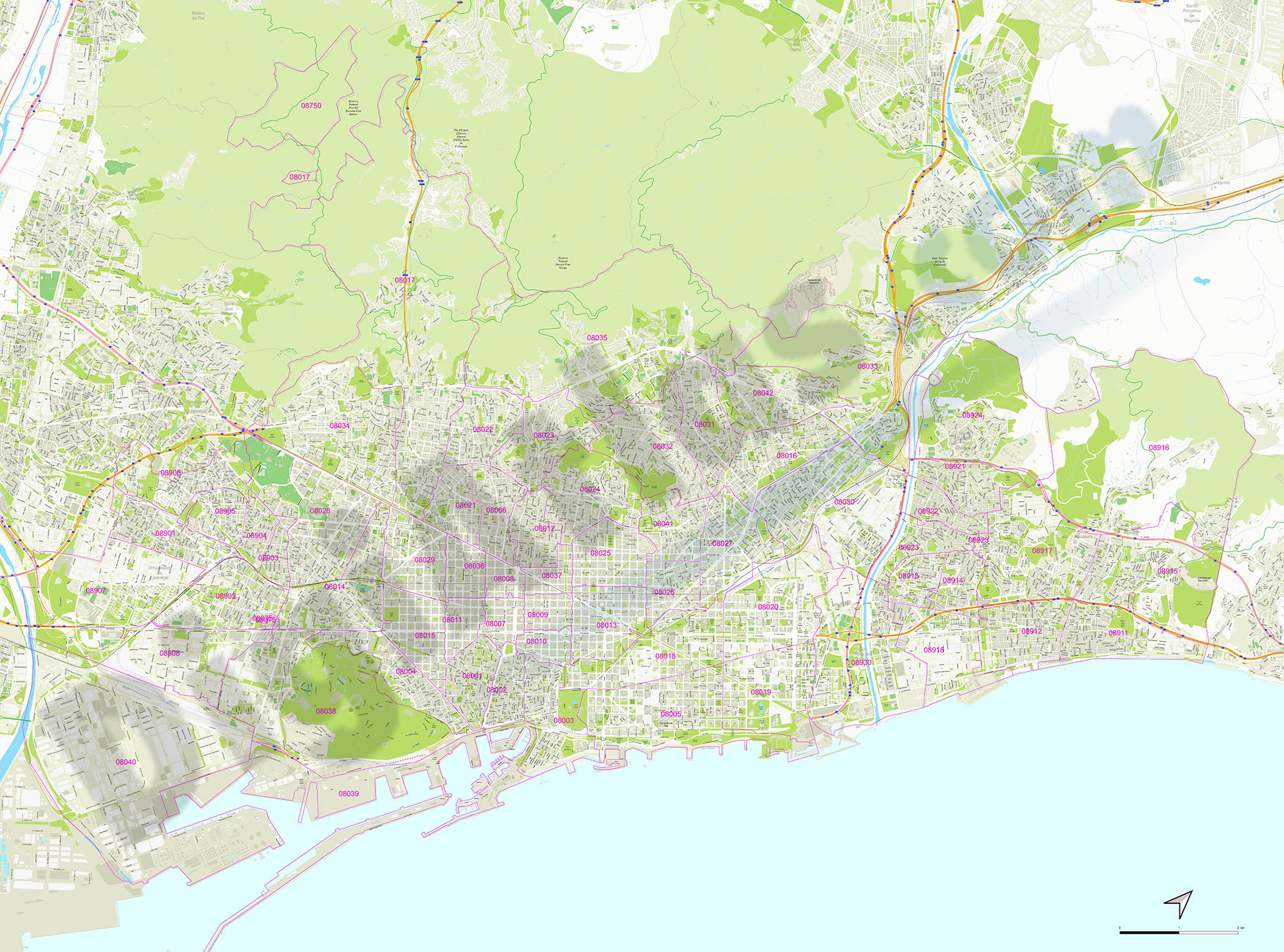Barcelona and surroundings with postal codes