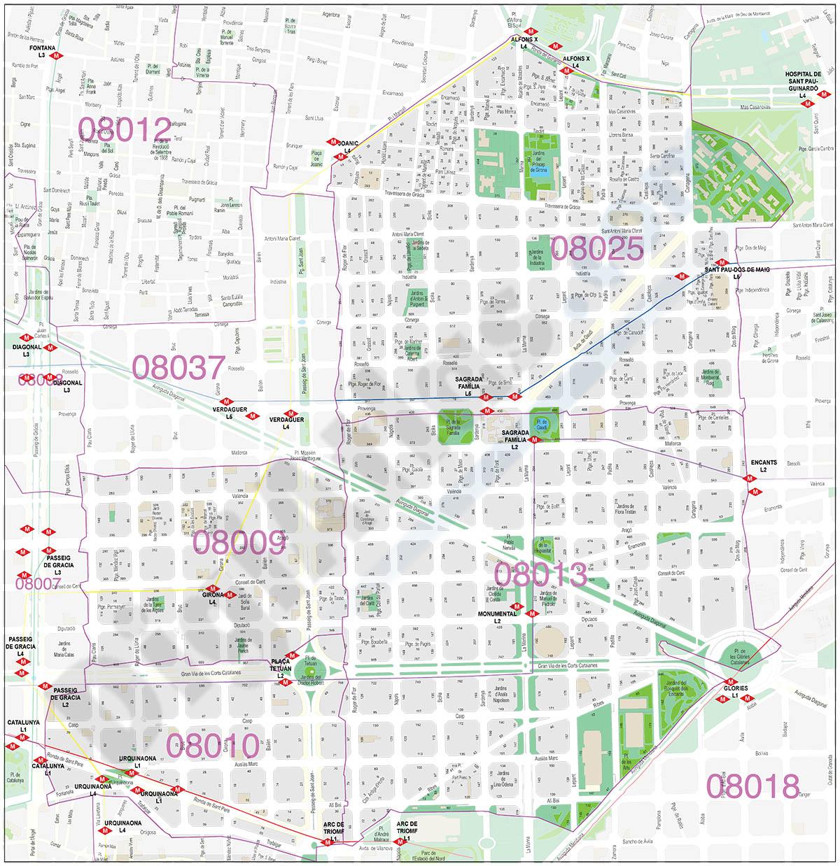 Barcelona zipcodes map