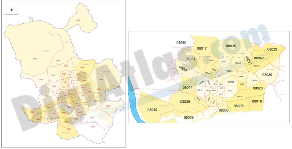 Mapas de Madrid y Barcelona con distritos y CP