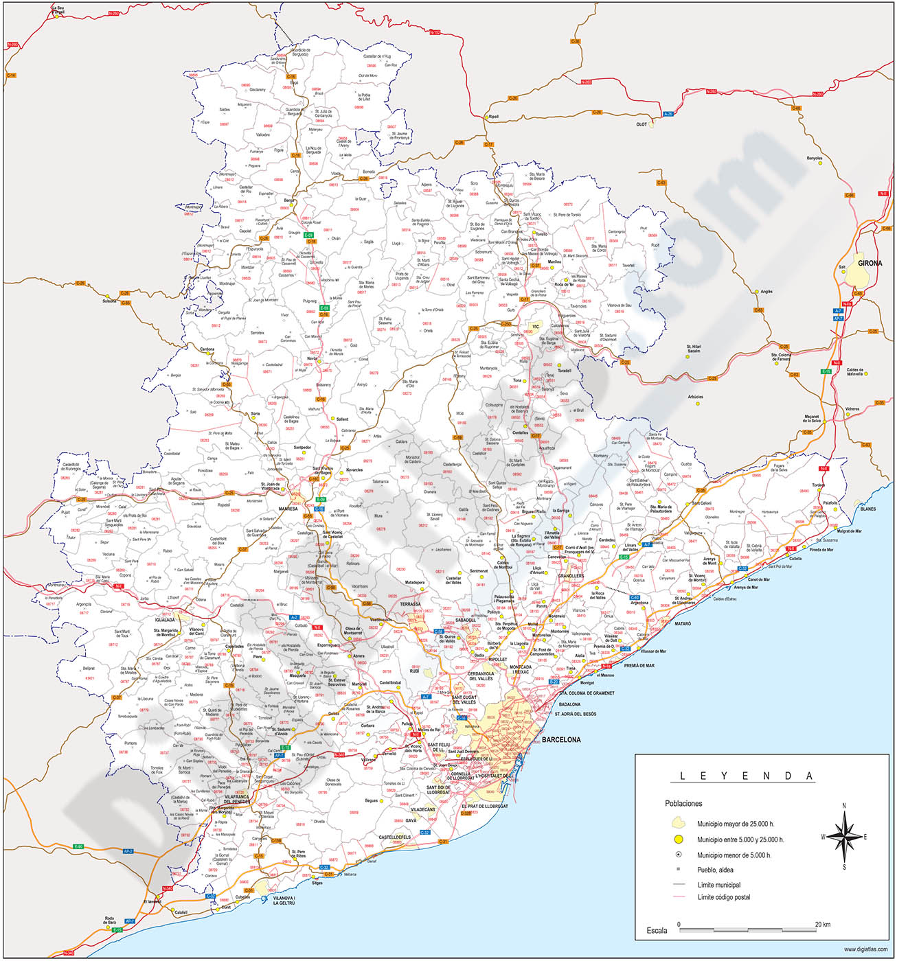 Barcelona - province map with municipalities, postal codes and roads
