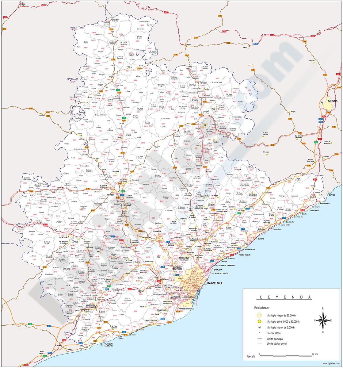 Barcelona - mapa provincial con municipios, códigos postales y carreteras