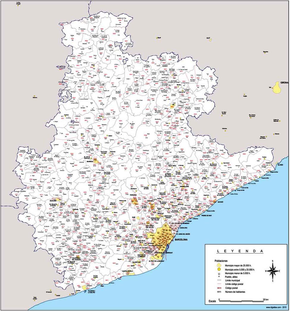 Barcelona - mapa provincial con municipios, códigos postales y habitantes