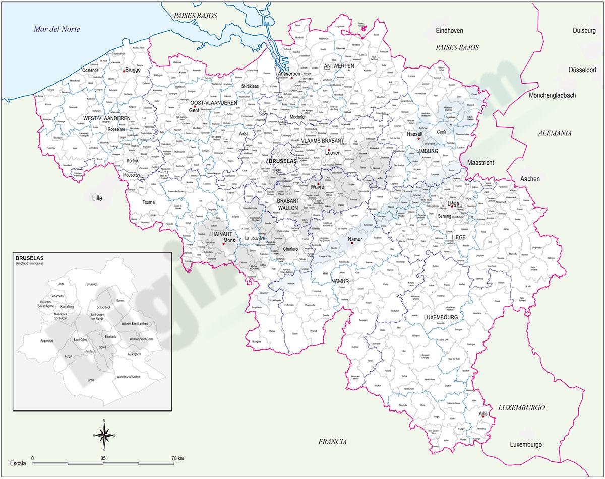Mapa de Bélgica con municipios