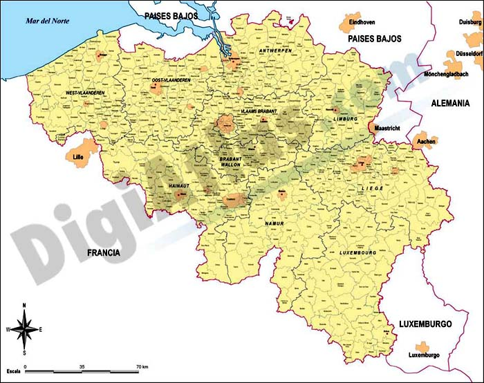 Belgium map with administrative limits
