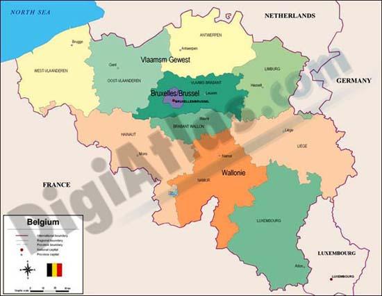 Mapa de Bélgica
