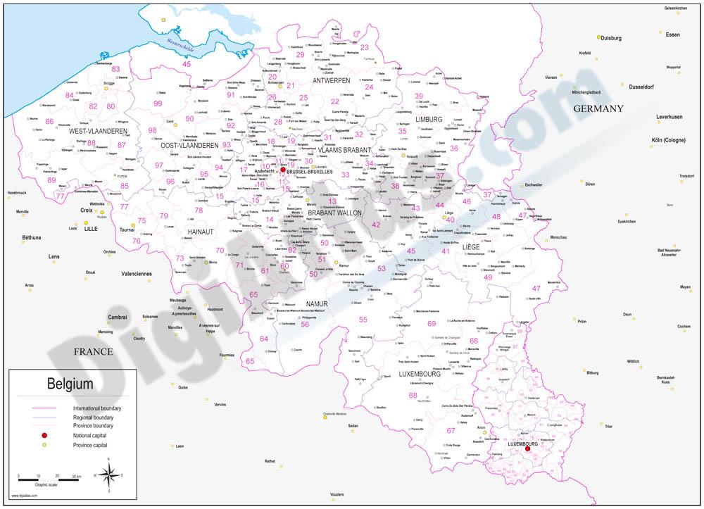 Mapa de Bélgica con regiones y codigos postales