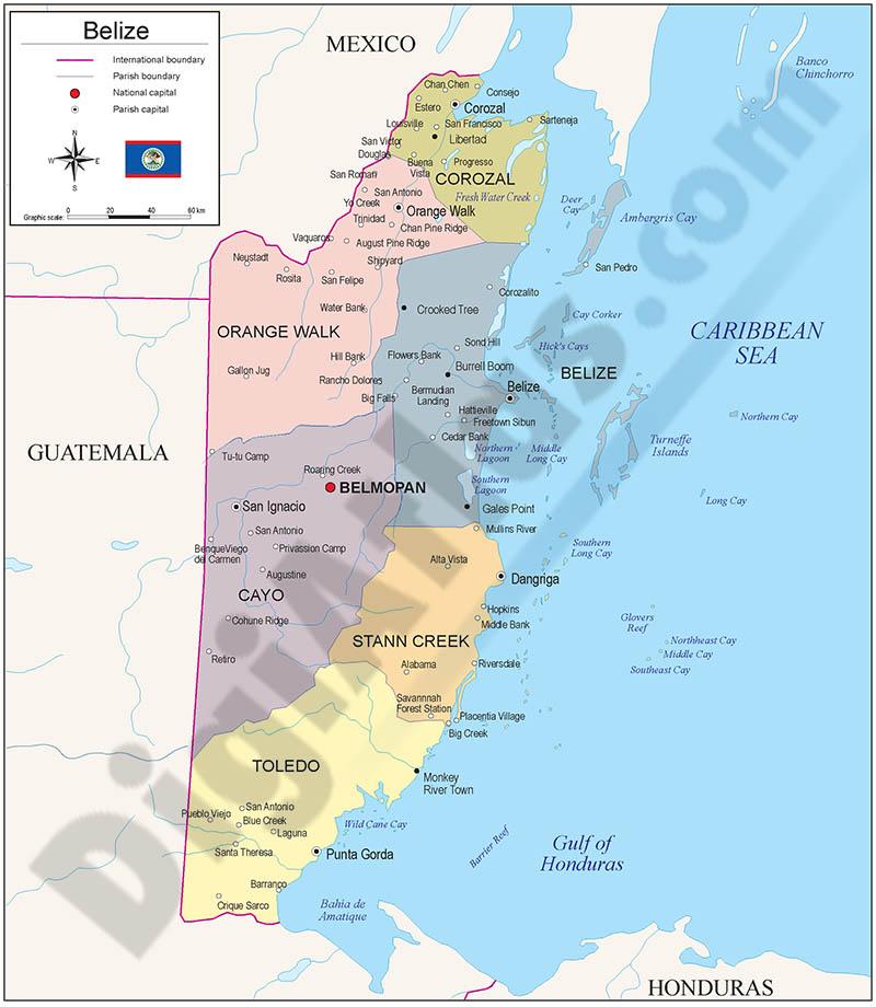 Mapa de Belice