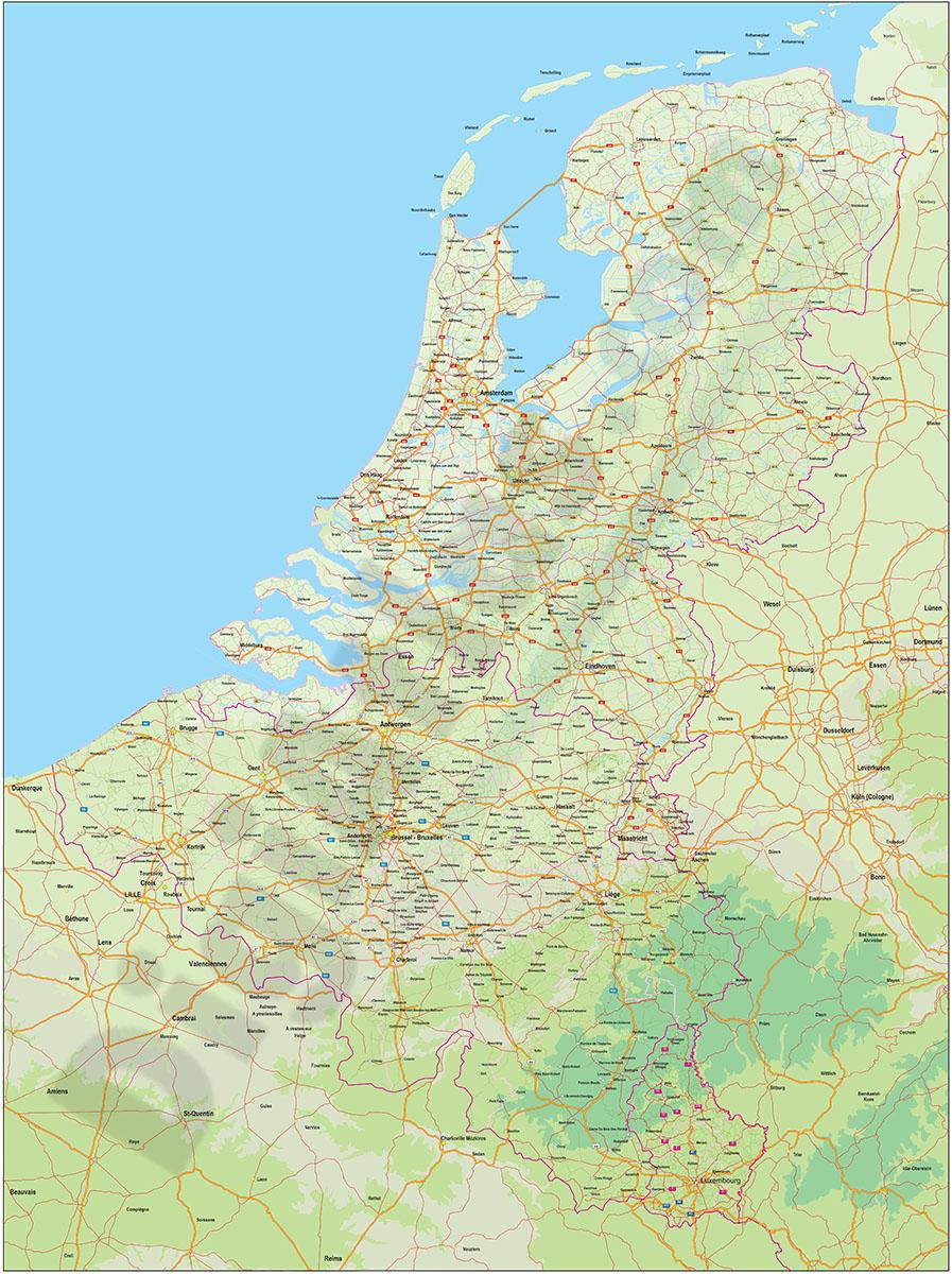 Mapa de carreteras de Benelux