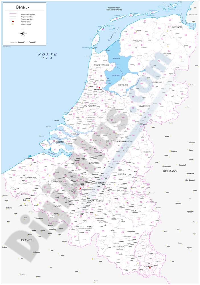 Mapa de Benelux  con regiones y codigos postales