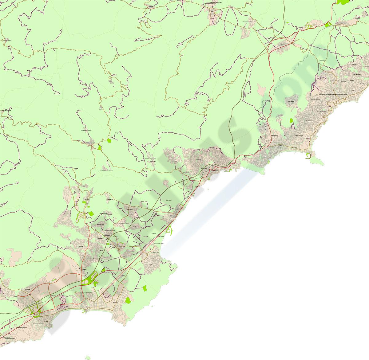 Mapa de Benidorm a Altea