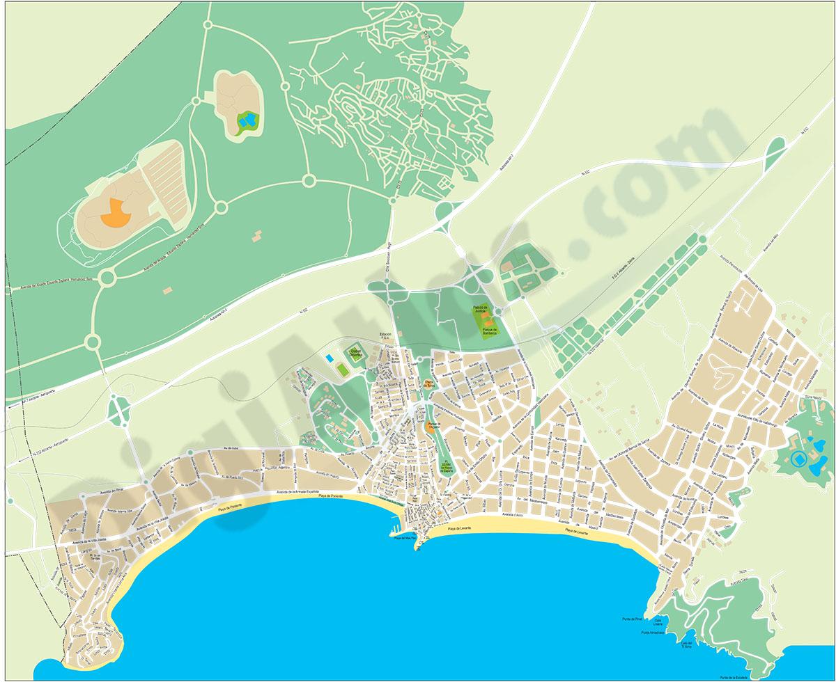 Benidorm (Alicante province) city map