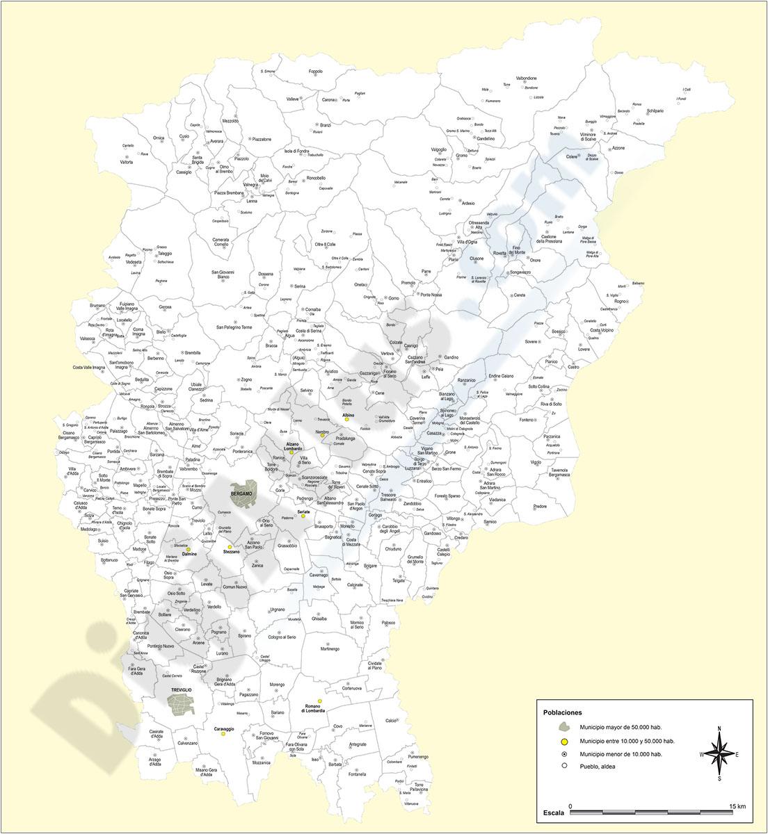 Provincia de Bergamo con municipios y poblaciones
