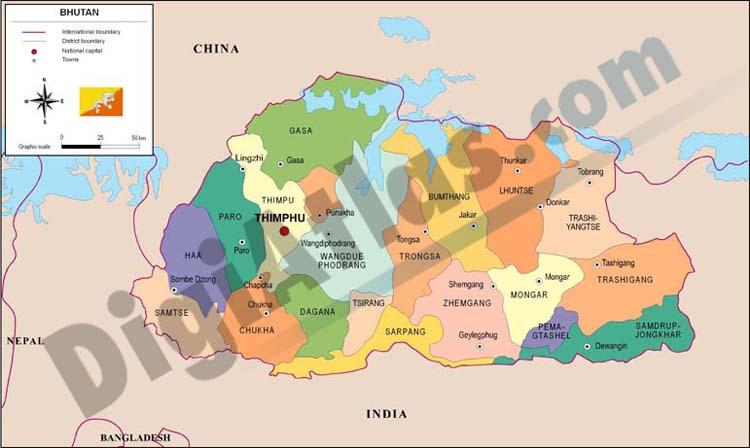 Mapa de Bután