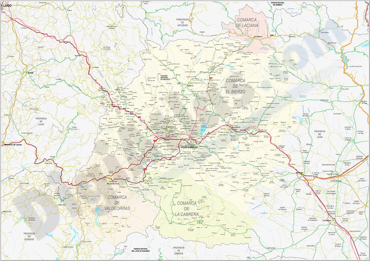El Bierzo-Valdeorras-Cabrera - Mapa comarcal