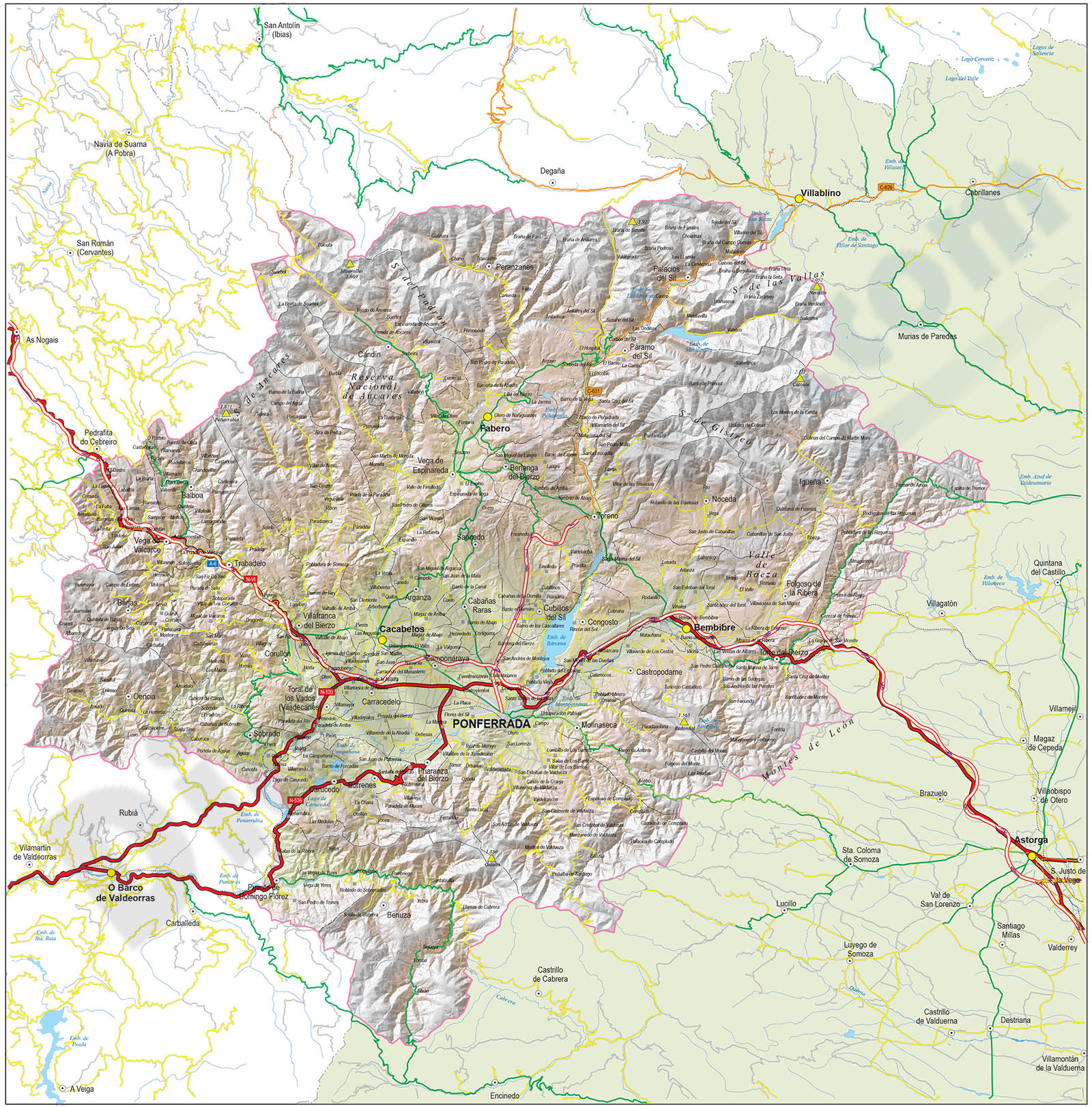 El Bierzo - Map of the Comarca (province of Leon, Spain)