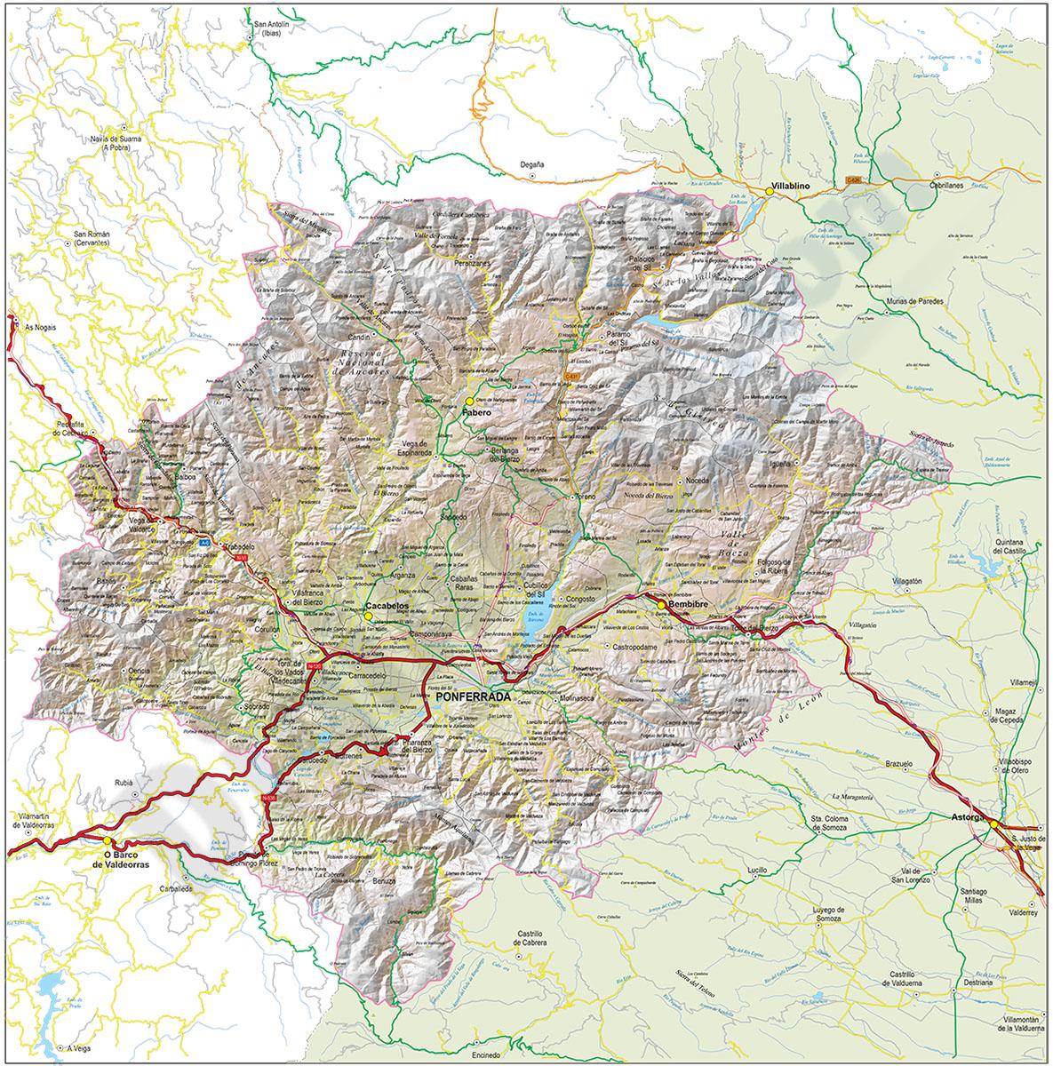 El Bierzo - Map of the Comarca (province of Leon, Spain)