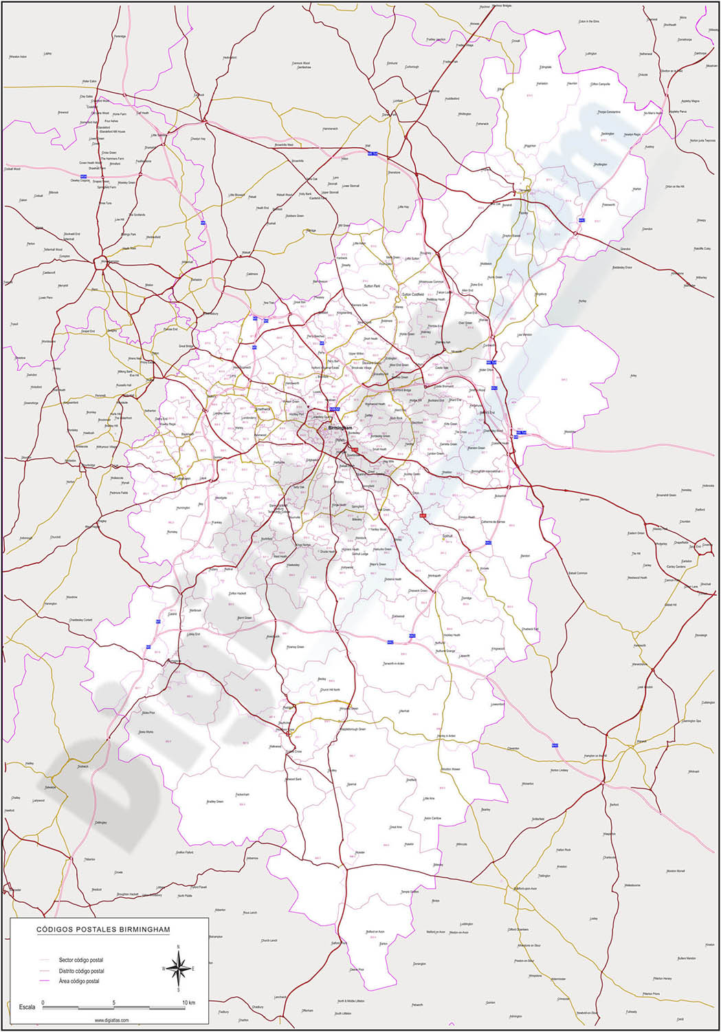 Birmingham - map of postcode area (B) with cities and major roads