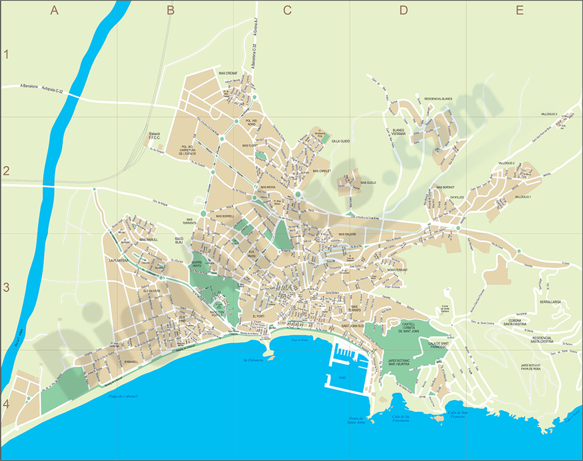 Blanes - city map