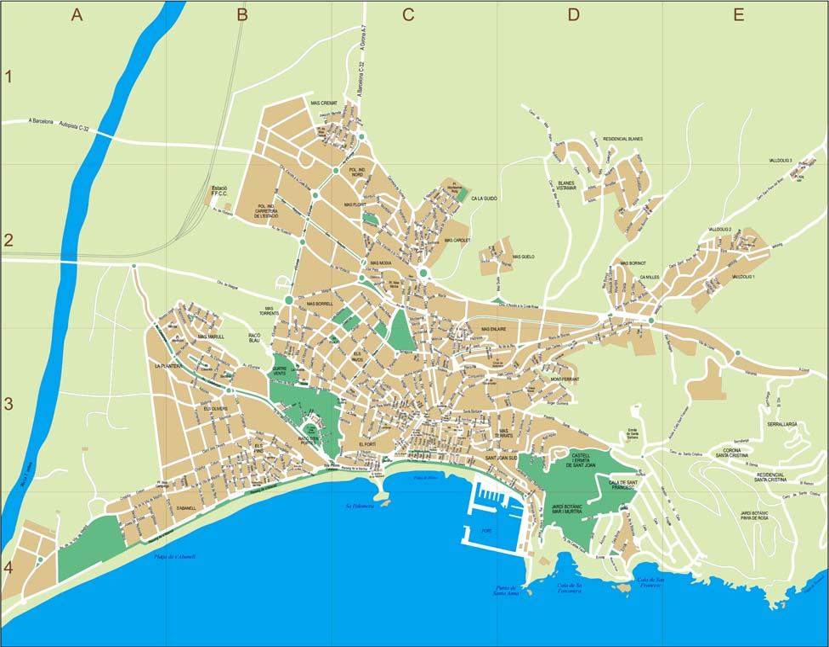 Blanes - city map