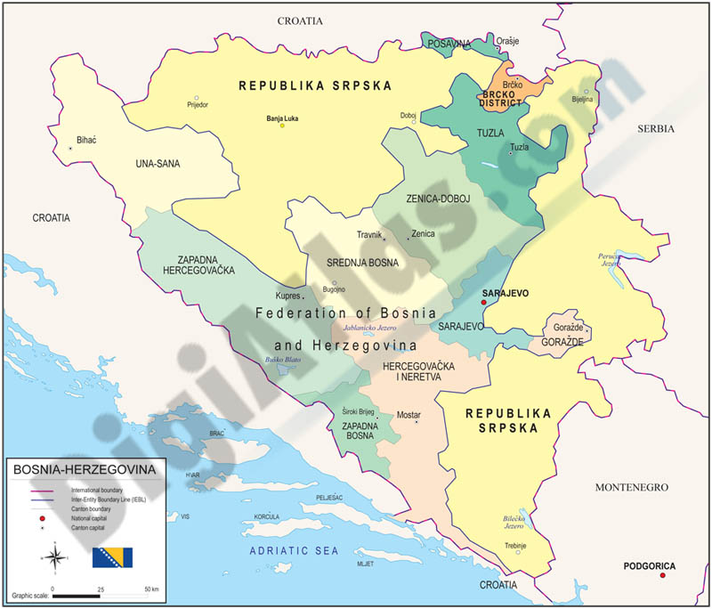 Map of Bosnia & Herzegovina