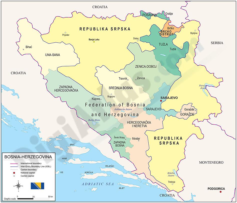 Map of Bosnia & Herzegovina