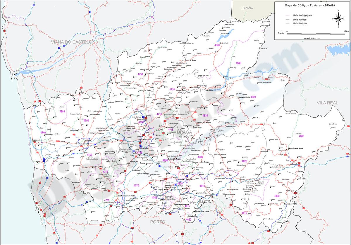 Braga - mapa de códigos postales y carreteras