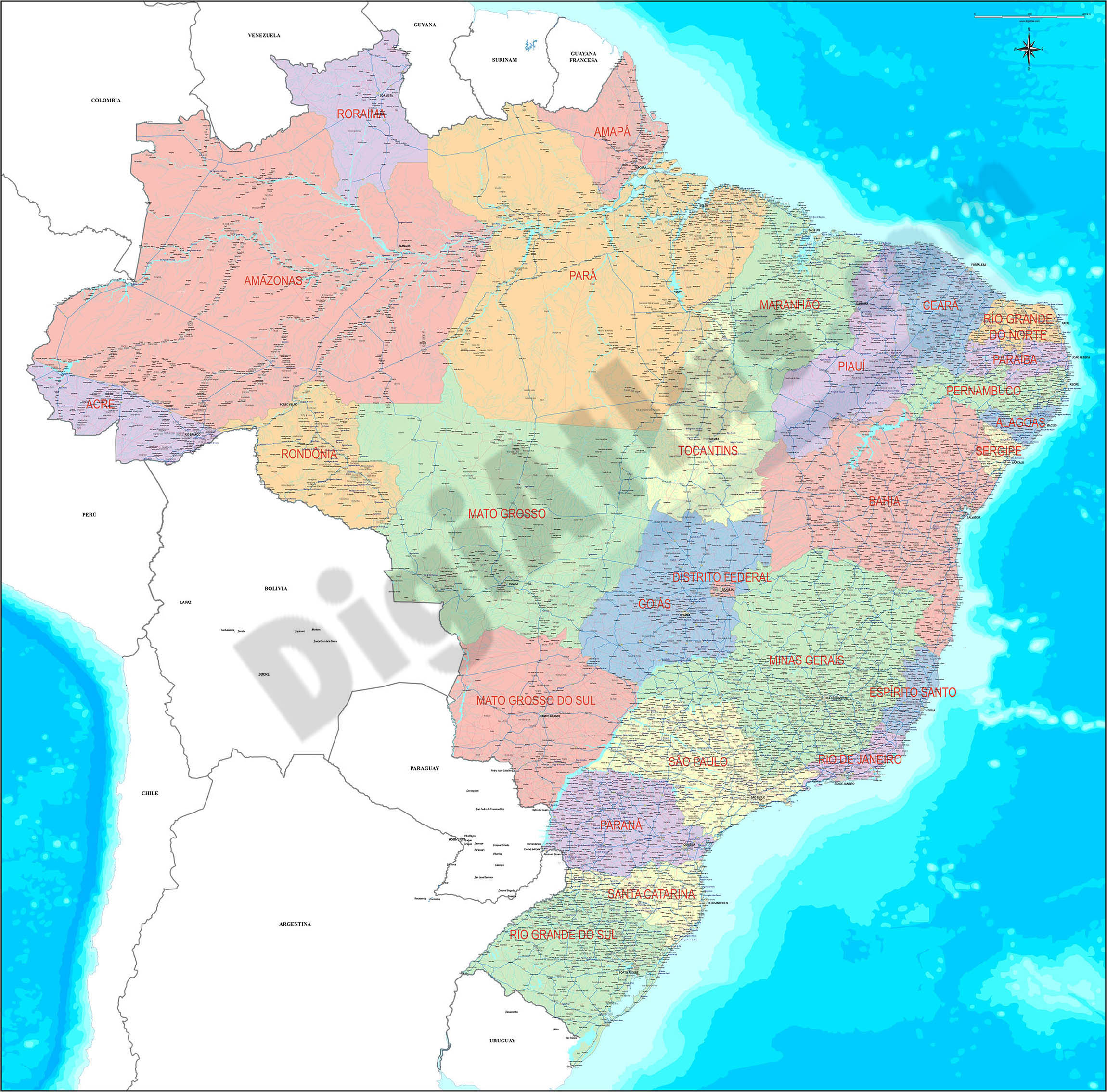 Mapa de Brasil detallado
