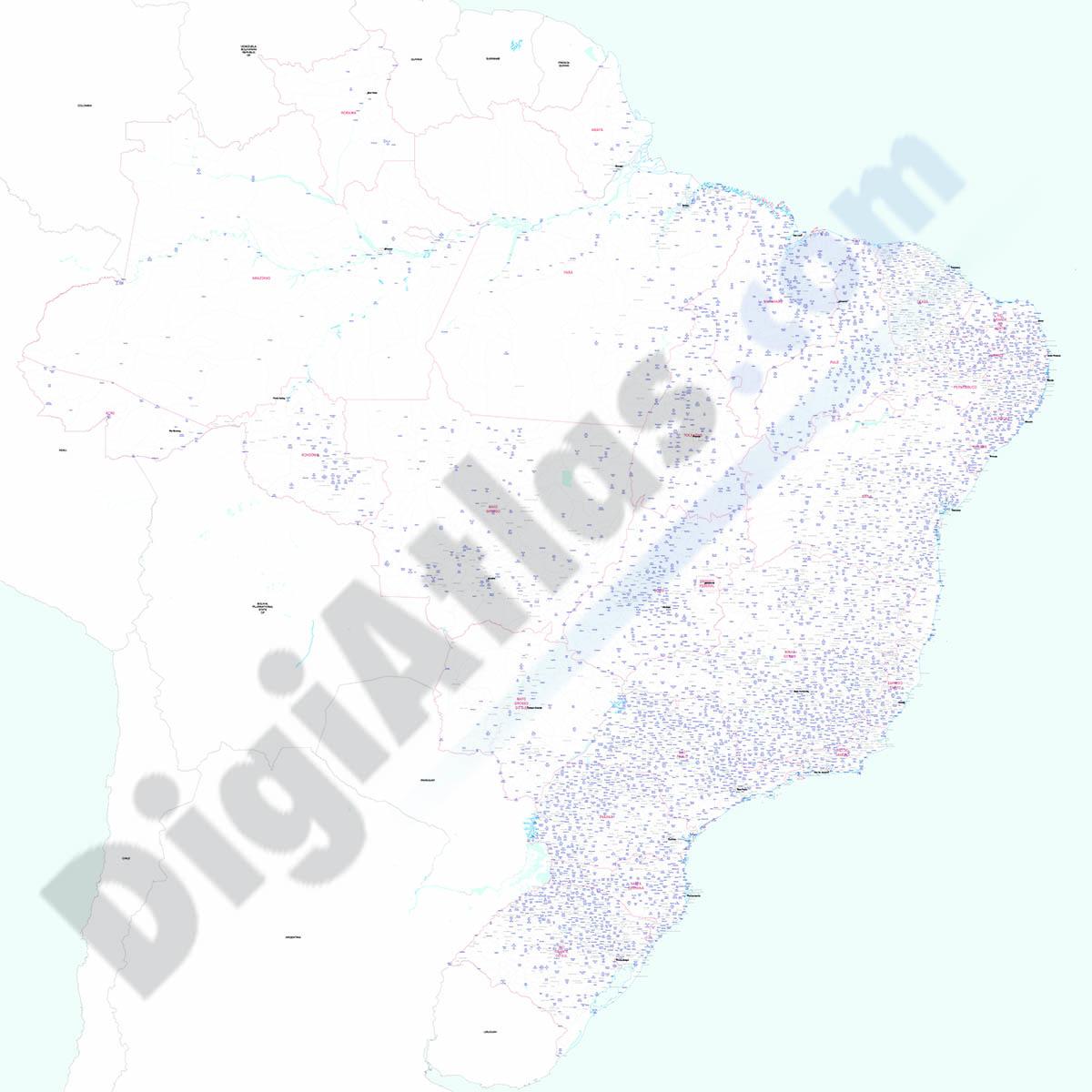 Brasil - Mapa de poblaciones